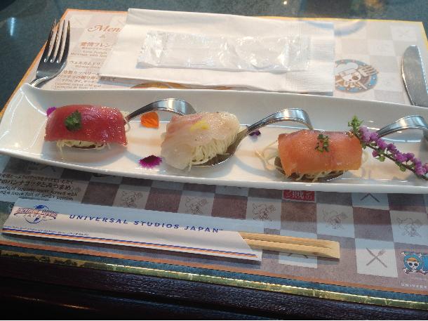 冷製カッペリーニとカルパッチョの握り寿司仕立て